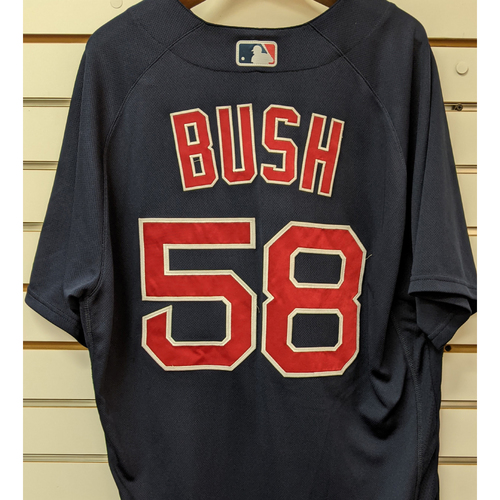 Photo of Coach Dave Bush #58 Team Issue Nike Navy Road Alternate Jersey