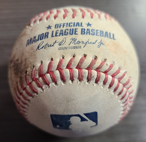 Photo of Authenticated Game Used Baseball: Single by Jonathan Arauz against Robbie Ray (Aug 7, 2021 vs BOS). Top 6. Game 1 of Doubleheader.