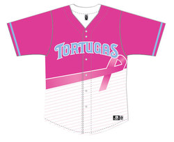 Photo of Daytona Tortugas Breast Cancer Awareness Jersey #6 - Size 44 - Worn by Tanner...