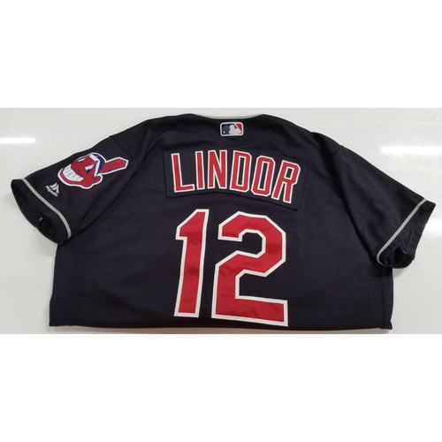 Photo of Francisco Lindor Game Worn Jersey - 1st Career Game with 4 XBH (2 HR's, 2 Doubles)