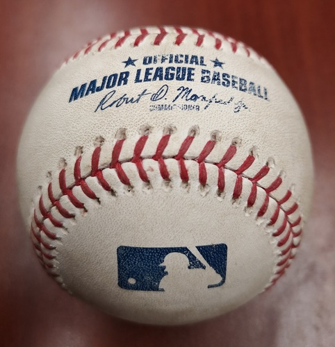 Photo of Authenticated Game Used Baseball - Double by Max Kepler against Aaron Sanchez (May 7, 2019 vs MIN). Top 5.