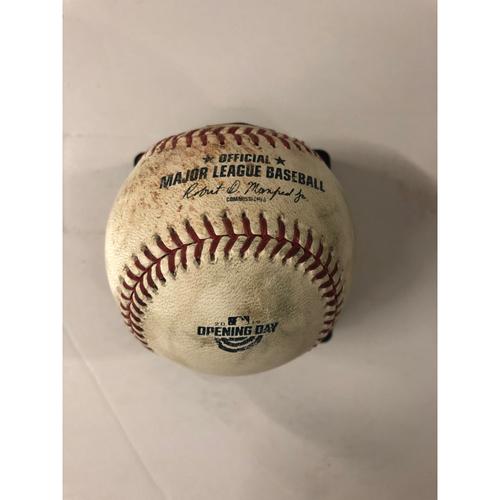 Photo of Mark Zagunis Game Used Hit Double Baseball - Opening Day Commemorative Logo 4/1/2019