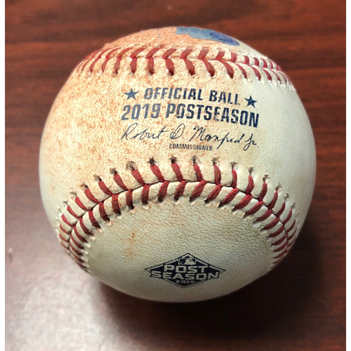 Photo of ALDS Game Used Baseball: First Pitch of Game 3 - Charlie Morton's 4th Consecutive Win in a Post Season Elimination Game - Monday, October 7, 2019 v HOU
