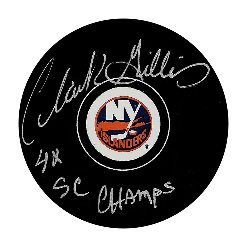 Clark Gillies Autographed New York Islanders Puck w/4X SC CHAMPS Inscription