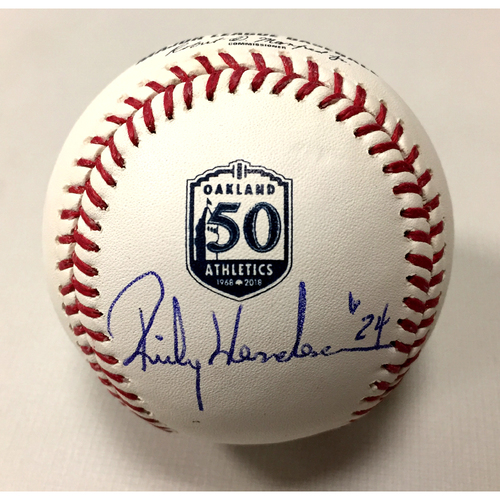 Photo of Rickey Henderson Autographed 50th Anniversary Baseball
