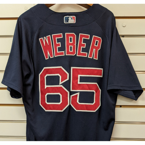 Photo of Ryan Weber #65 Team Issued Nike Navy Road Alternate Jersey