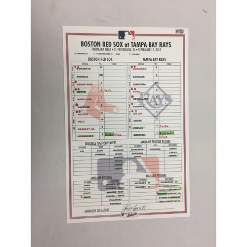 September 17, 2017 Red Sox at Rays Game-Used Lineup Card - Rays W 3 - 2
