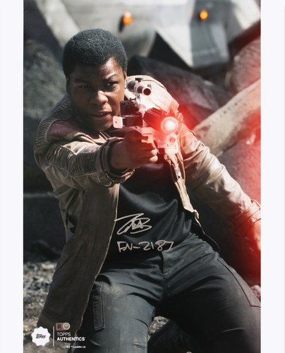 John Boyega as Finn 16x20 Autographed in Silver Ink Inscribed Photo at the Battle of Takodana