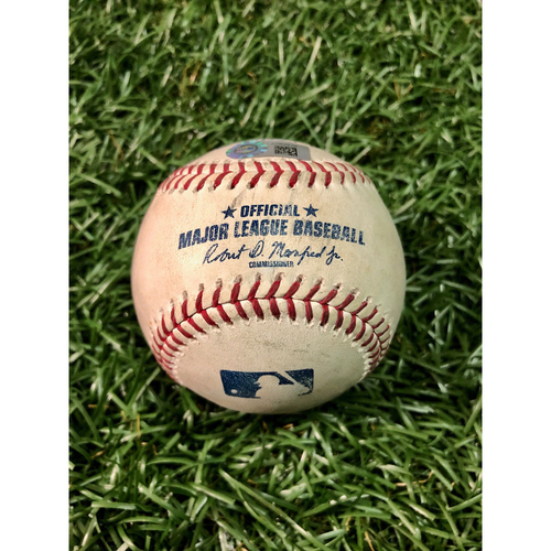 Photo of Game Used Baseball: Daniel Robertson single, Guillermo Heredia double off Clayton Kershaw and Willy Adames RBI single off Pedro Baez - May 21, 2019 v LAD