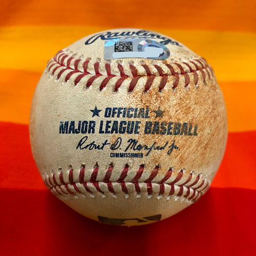 Photo of Game-Used Baseball 7/25/20 Astros Vs. Mariners: Walker to Tucker (Double)