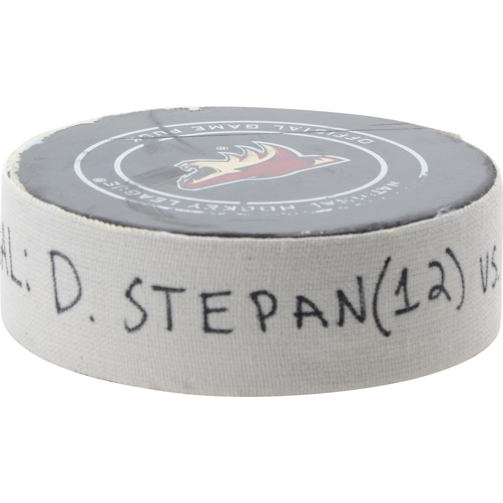 Derek Stepan Arizona Coyotes Game-Used Goal Puck from February 26, 2019 vs. Florida Panthers - First of Two Goals Scored