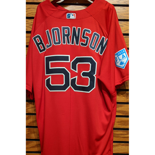 Coach Craig Bjornson #53 Team Issued 2019 Spring Training Red Jersey