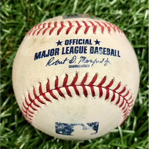 Photo of Game Used Baseball: Enrique Hernandez Single and Joc Pederson at-bat (2-pitches) against Yonny Chirinos - May 22, 2019 v LAD