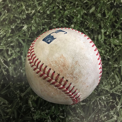 Game-Used Opening Day Baseball MIN@MIL 04/01/21 - Brandon Woodruff - Andrelton Simmons: Single