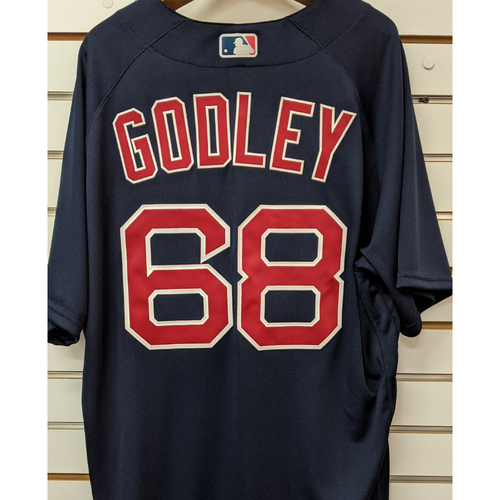 Photo of Zack Godley #68 Team Issued Nike Navy Road Alternate Jersey