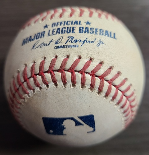 Photo of Authenticated Game Used Baseball: Double by Corey Dickerson against Tanner Houck (Aug 7, 2021 vs BOS). Bottom 2. game 2 of Doubleheader.