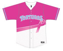 Photo of Daytona Tortugas Breast Cancer Awareness Jersey #8 - Size 46 - Worn by Jason ...