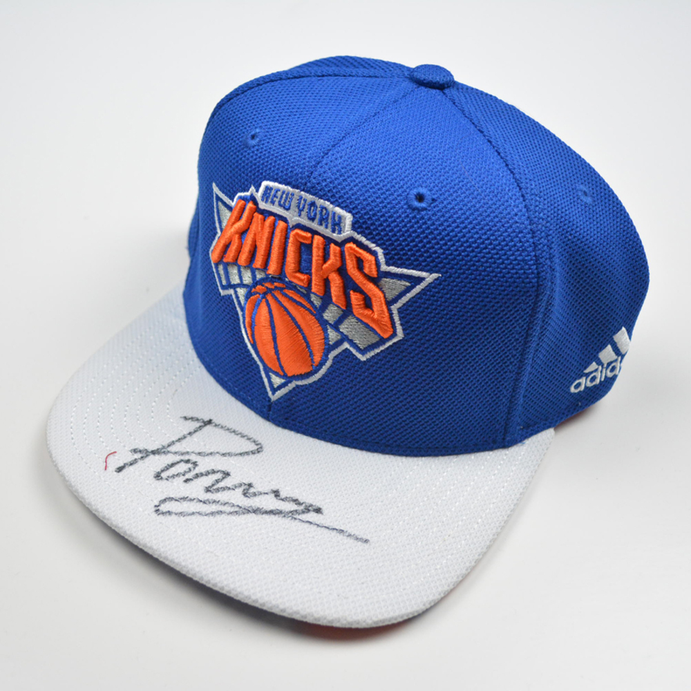 f69b9cc2380 Kristaps Porzingis - New York Knicks - 2015 NBA Draft - Autographed Hat