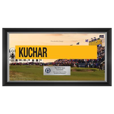 Photo of Matt Kuchar, The 147th Open Carnoustie Hole by Hole Scoreboard Nameplate Framed