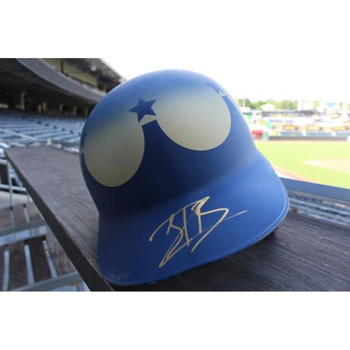 Photo of Game-Used and Autographed Turn Ahead The Clock Batting Helmet: Jorge Bonifacio (Size 7 3/8 - Inning 1 - KC @ SEA - 6/30/18)