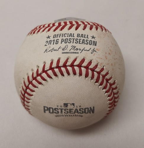 Photo of Authenticated Game Used Baseball - Carlos Gomez Single against J.A. Happ (ALDS Game 2: October 7, 2016 vs TEX). Bottom 4.