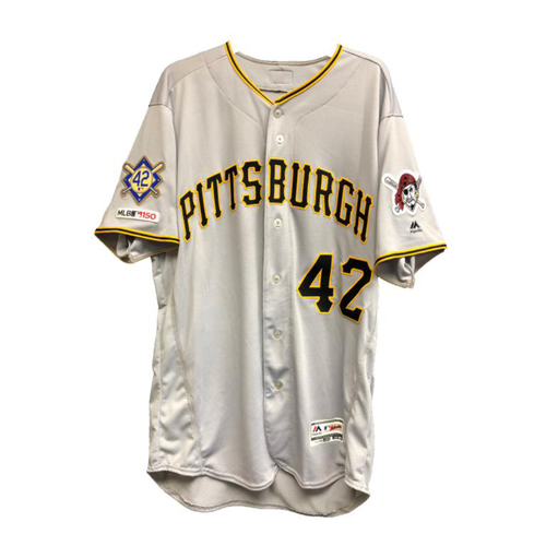 Photo of Game-Used Steven Brault 2019 Jackie Robinson Day Jersey