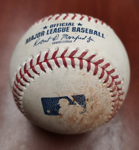 Photo of Authenticated Game Used Baseball - Kyle Gibson strikes out Socrates Brito and Luke Maile (May 8, 2019 vs MIN). Bottom 3.