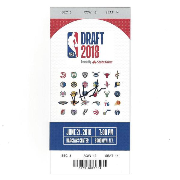 Image of Kevin Huerter - Atlanta Hawks - 2018 NBA Draft - Autographed Draft Ticket