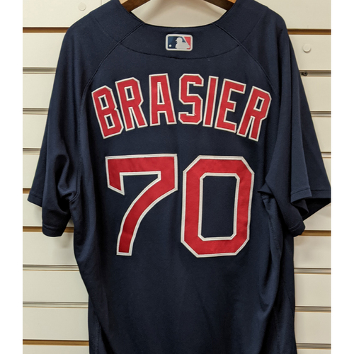 Photo of Ryan Brasier #70 Team Issued Nike Navy Road Alternate Jersey