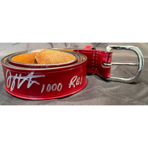 Photo of Joey Votto *Game-Used, Autographed & Inscribed* Belt -- Worn By Joey Votto For 1,000th Career RBI -- SD vs. CIN on 06/30/2021