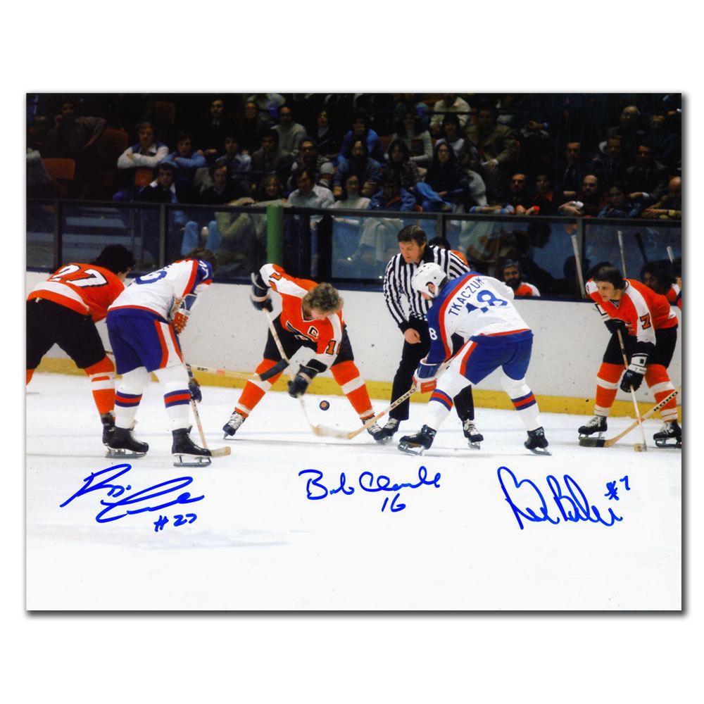 Bobby Clarke, Bill Barber & Reggie Leach LCB Line Faceoff Autographed 8x10