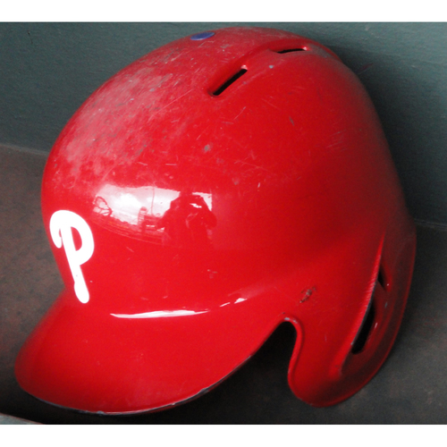 2017 Game-Used Red Helmet: Aaron Altherr - Grand Slam off Clayton Kershaw