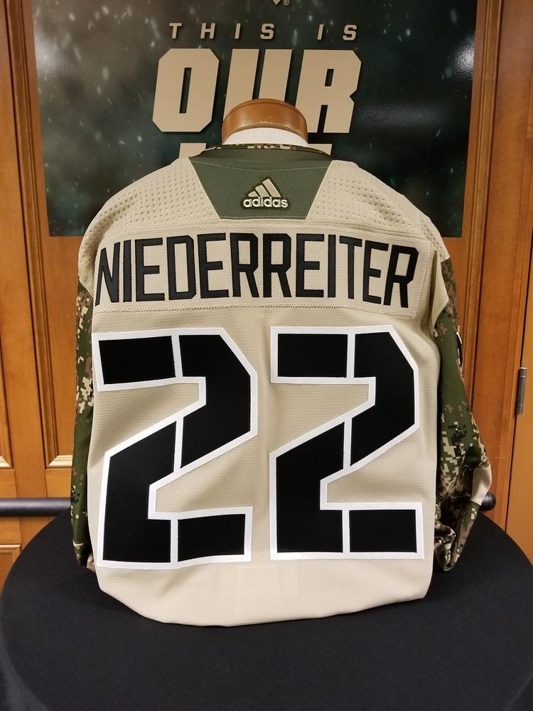 more photos fc9f8 a0efd Nino Niederreiter Minnesota Wild 2018 Camouflage Warm-Up ...