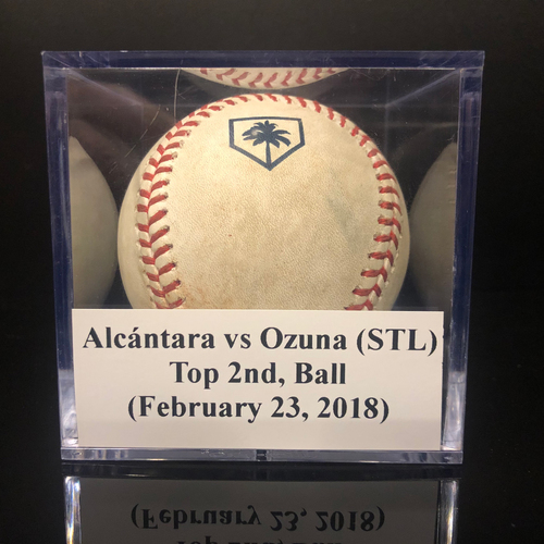 Photo of Game-Used Baseball:  Sandy Alcántara vs Marcell Ozuna (STL) - 2019 Spring Training Baseball (February 23, 2019)