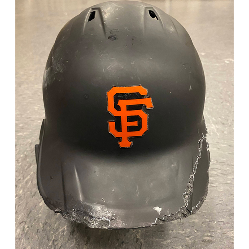 Photo of 2019 Game Used Batting Helmet (Broken) - worn by #35 Brandon Crawford - Authenticated on 8/2 @ COL and 8/6 vs WSH - size 7 1/2