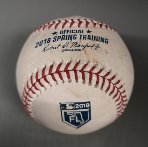 Photo of Authenticated Game Used Baseball - Strikeout by Marcus Stroman against Tommy Pham (Mar 26, 18 vs STL). Top 4. Spring Training in Montreal.