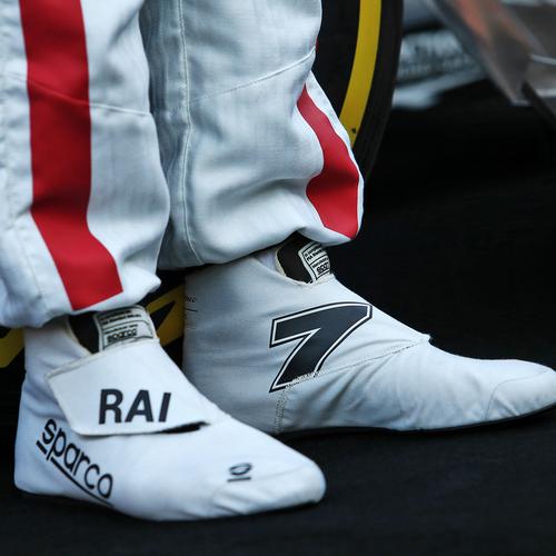 Photo of Kimi Raikkönen 2020 Framed Race-worn Race Boots - Alfa Romeo Racing ORLEN