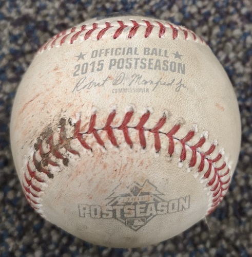 Photo of Authenticated Game Used Postseason Baseball - Pitch in the Dirt by Chris Young against Ryan Goins (ALCS Game 4: Oct 20, 15 vs KCR). Bottom 5.