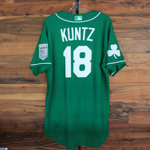 Photo of Team-Issued 2020 St. Patrick's Day Jersey: Rusty Kuntz #18 - Size 48
