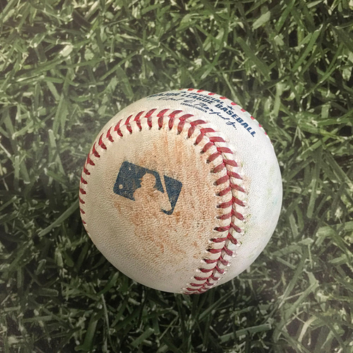 Game-Used Opening Day Baseball MIN@MIL 04/01/21 - Brandon Woodruff - Miguel Sano: Single