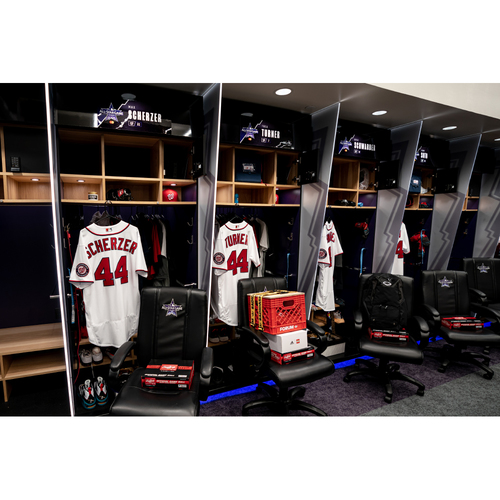 Photo of 2021 All-Star Game/Homerun Derby Clubhouse Chair Panel from Juan Soto's Locker Chair