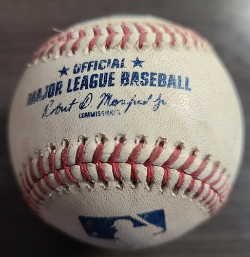 Photo of Authenticated Game Used Baseball: Single by Rafael Devers against Hyun Jin Ryu (Aug 8, 2021 vs BOS). Top 2.