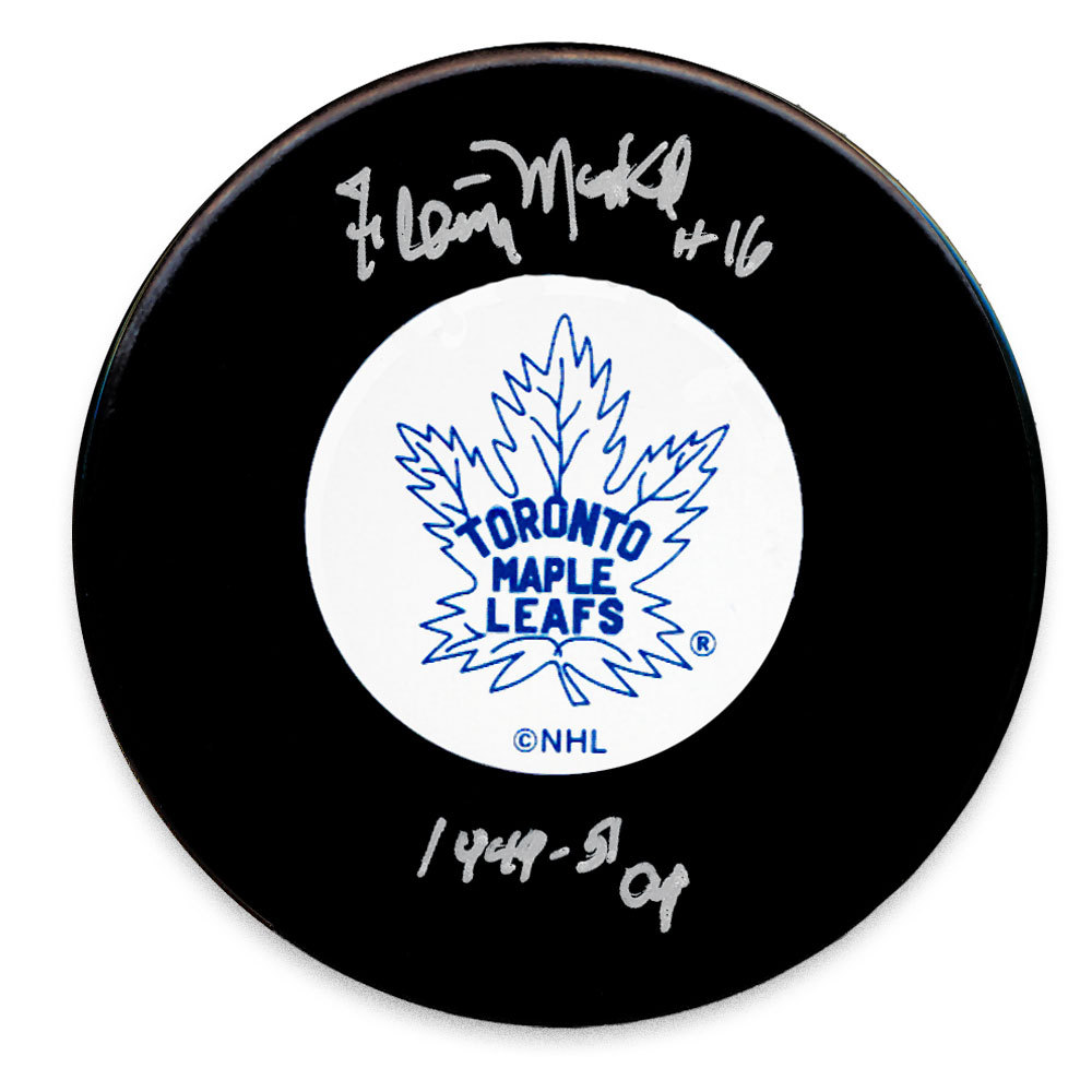 Fleming MacKell Toronto Maple Leafs SC Years Autographed Puck