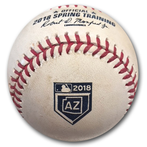 Photo of Game-Used Baseball -- Spring Training 2018 -- Matt Shoemaker to Mike Freeman, Pitch in the Dirt, Bot 4 -- Angels vs. Cubs -- 3/9/18