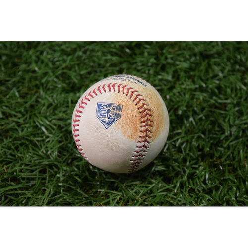 Photo of 20th Anniversary Game Used Baseball - April 21, 2018 - Eddie Rosario Double off Blake Snell