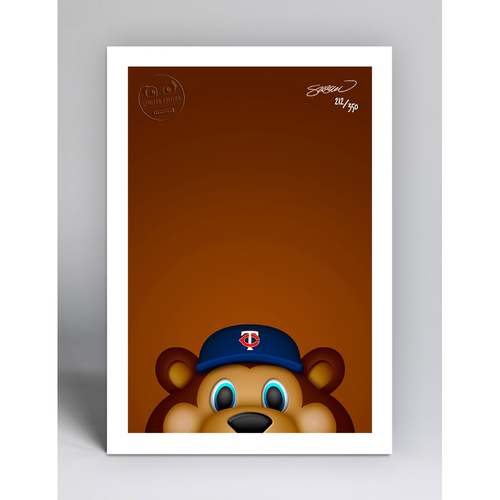 Photo of TC Bear - Limited Edition Minimalist Mascot Art Print by S. Preston  - Minnesota Twins