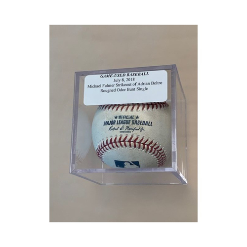 Photo of Game-Used Baseball: Michael Fulmer Strikeout of Adrian Beltre & Rougned Odor Bunt Single