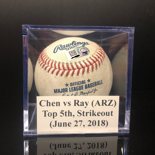 Photo of Game-Used Baseball: Wei-Yin Chen vs Robbie Ray (ARZ), Top 5th, Strikeout (June 27, 2018)