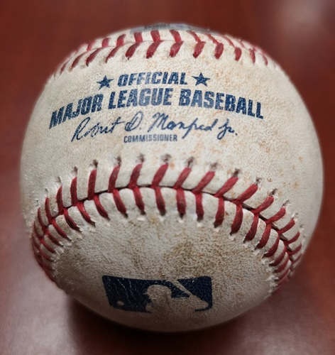 Photo of Authenticated Game Used Baseball - Single by C.J. Cron against Derek Law (May 8, 2019 vs MIN). Top 4.