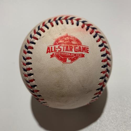 Photo of 2018 All Star Game - Game Used Baseball - Batter: Javier Baez Pitcher: Jose Berrios - Swinging Strike